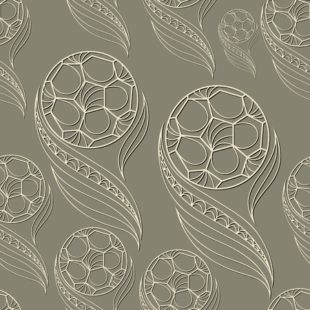 gobelin tapestry: Seamless pattern (texture) with football balls. Soccer infinite background. Suitable for design: cloth, web, wallpaper, wrapping. Vector illustration.