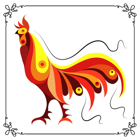 fire symbol: Graphic illustration of fire cock, symbol of 2017. Suitable for invitation, flyer, sticker, poster, banner, card,label, cover, web. Vector element for New Years design.