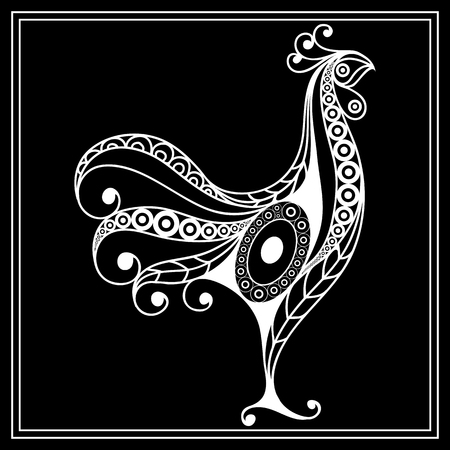 Graphic illustration of cock, symbol of 2017. Suitable for invitation, flyer, sticker, poster, banner, card,label, cover, web. Vector element for New Years design.