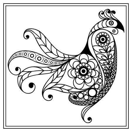 coloring book page: Graphic illustration of cock, symbol of 2017. Coloring book page. Suitable for invitation, flyer, sticker, poster, banner, card,label, cover, web. Vector element for New Years design. Illustration