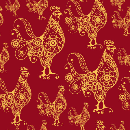 new year decoration: Seamless texture (pattern) with cock (rooster) - symbol of 2017 (fire cock). Suitable for design: cloth, web, wallpaper, wrapping. Vector illustration for New Years design. Illustration