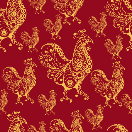 gobelin: Seamless texture (pattern) with cock (rooster) - symbol of 2017 (fire cock). Suitable for design: cloth, web, wallpaper, wrapping. Vector illustration for New Years design. Illustration