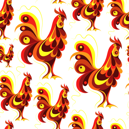 Seamless texture (pattern) with cock (rooster) - symbol of 2017 (fire cock). Suitable for design: cloth, web, wallpaper, wrapping. Vector illustration for New Years design. Illustration