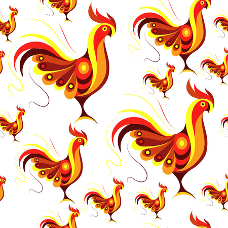 chinese symbol: Seamless texture (pattern) with cock (rooster) - symbol of 2017 (fire cock). Suitable for design: cloth, web, wallpaper, wrapping. Vector illustration for New Years design. Illustration