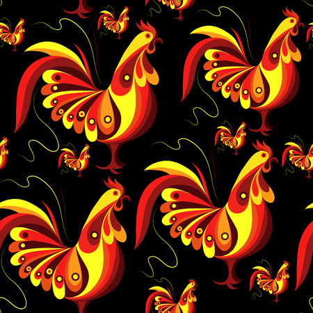 gobelin tapestry: Seamless texture (pattern) with cock (rooster) - symbol of 2017 (fire cock). Suitable for design: cloth, web, wallpaper, wrapping. Vector illustration for New Years design. Illustration