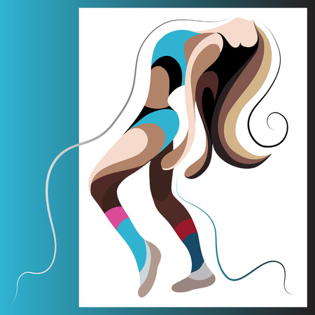 nude young: Sexy dancer woman. Go-go girl. Suitable for invitation, flyer, sticker, poster, banner, card,label, cover, web. Vector illustration. Illustration