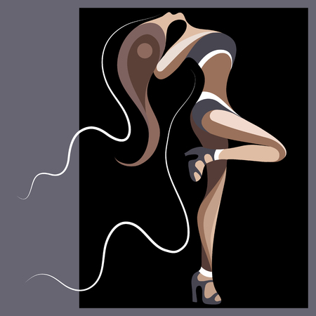 Sexy dancer woman. Go-go girl. Suitable for invitation, flyer, sticker, poster, banner, card,label, cover, web. Vector illustration. Vettoriali