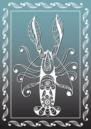 omar: Graphic abstract lobster (crab, omar) in line art style. Seafood element. Suitable for invitation, flyer, sticker, poster, banner, card, label, cover, web. Vector illustration. Illustration