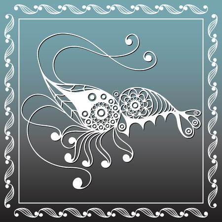 delicacy: Graphic abstract shrimp (prawn) in line art style. Seafood element. Suitable for invitation, flyer, sticker, poster, banner, card, label, cover, web. Vector illustration.