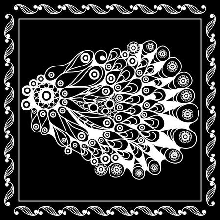 graphic art: Graphic abstract seashell (shell, oyster) in line art style. Seafood element. Suitable for invitation, flyer, sticker, poster, banner, card, label, cover, web. Vector illustration.
