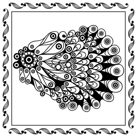 delicacy: Graphic abstract seashell (shell, oyster) in line art style. Seafood element. Suitable for invitation, flyer, sticker, poster, banner, card, label, cover, web. Vector illustration.