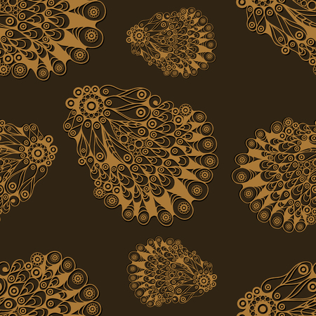 gobelin tapestry: Seamless pattern (texture) with seashell (shell, oyster). Seafood infinite background. Suitable for design: cloth, web, wallpaper, wrapping. Vector illustration.
