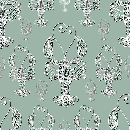 omar: Seamless pattern (texture) with lobster (crab, omar). Seafood infinite background. Suitable for design: cloth, web, wallpaper, wrapping. Vector illustration.
