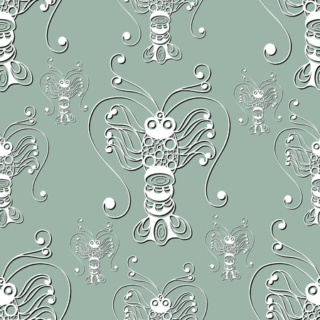 gobelin: Seamless pattern (texture) with lobster (crab, omar). Seafood infinite background. Suitable for design: cloth, web, wallpaper, wrapping. Vector illustration.