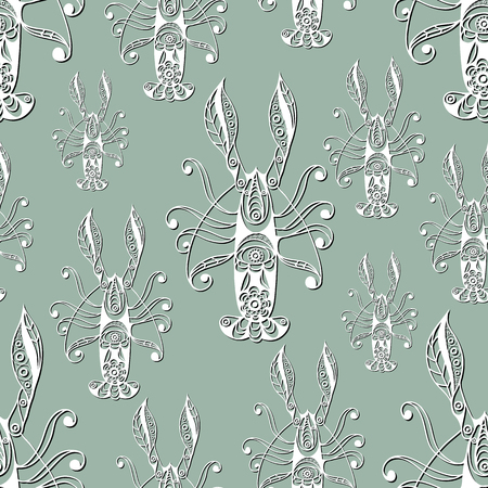 gobelin tapestry: Seamless pattern (texture) with lobster (crab, omar). Seafood infinite background. Suitable for design: cloth, web, wallpaper, wrapping. Vector illustration.
