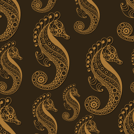 gobelin tapestry: Seamless pattern (texture) with seahorse (hippocampus). Seafood infinite background. Suitable for design: cloth, web, wallpaper, wrapping. Vector illustration. Illustration