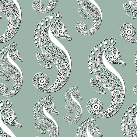 hippocampus: Seamless pattern (texture) with seahorse (hippocampus). Seafood infinite background. Suitable for design: cloth, web, wallpaper, wrapping. Vector illustration. Illustration