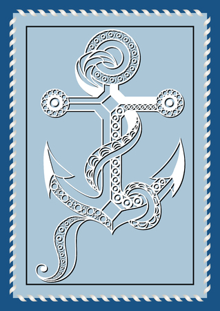 Graphic abstract anchor in line art style. Sailor element. Suitable for invitation, flyer, sticker, poster, banner, card, label, cover, web. Vector illustration. Illustration