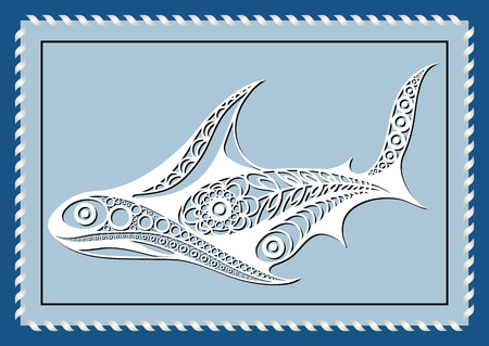 Graphic abstract shark in line art style. Sailor element. Suitable for invitation, flyer, sticker, poster, banner, card, label, cover, web. Vector illustration.