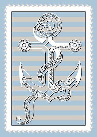 berth: Graphic abstract anchor in line art style. Sailor element. Suitable for invitation, flyer, sticker, poster, banner, card, label, cover, web. Vector illustration. Illustration