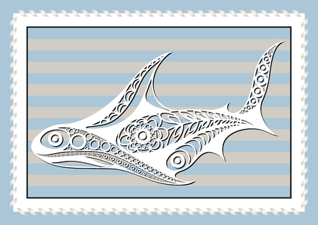 rapacious: Graphic abstract shark in line art style. Sailor element. Suitable for invitation, flyer, sticker, poster, banner, card, label, cover, web. Vector illustration.