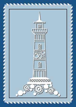 pharos: Graphic abstract lighthouse (beacon, pharos) in line art style. Sailor element. Suitable for invitation, flyer, sticker, poster, banner, card, label, cover, web. Vector illustration. Illustration