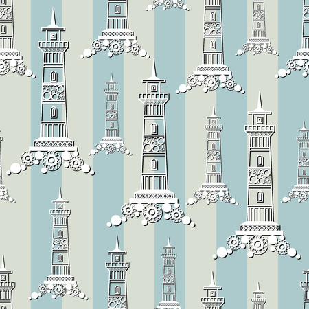 gobelin tapestry: Seamless pattern (texture) with lighthouse (beacon, pharos). Sailor infinite background. Suitable for design: cloth, web, wallpaper, wrapping. Vector illustration.