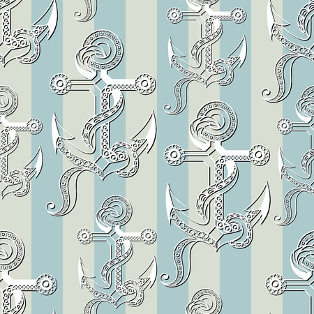gobelin: Seamless pattern (texture) with anchor. Sailor infinite background. Suitable for design: cloth, web, wallpaper, wrapping. Vector illustration.