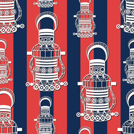 gobelin tapestry: Seamless pattern (texture) with lantern (lamp, light, flashlight). Sailor infinite background. Suitable for design: cloth, web, wallpaper, wrapping. Vector illustration.