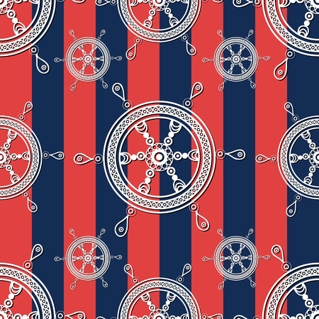 Seamless pattern (texture) with wheel. Sailor infinite background. Suitable for design: cloth, web, wallpaper, wrapping. Vector illustration.