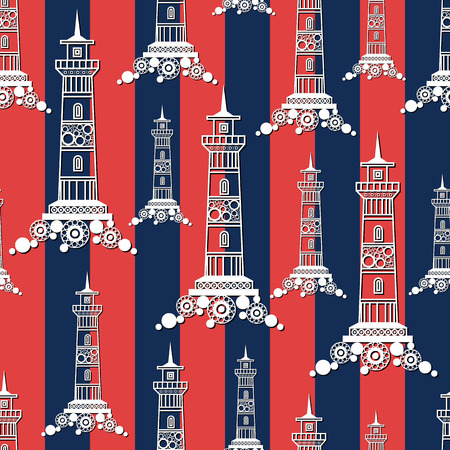 pharos: Seamless pattern (texture) with lighthouse (beacon, pharos). Sailor infinite background. Suitable for design: cloth, web, wallpaper, wrapping. Vector illustration.