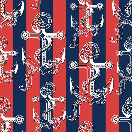 Seamless pattern (texture) with anchor. Sailor infinite background. Suitable for design: cloth, web, wallpaper, wrapping. Vector illustration.