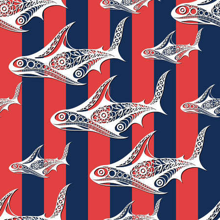 carcharodon: Seamless pattern (texture) with shark. Sailor infinite background. Suitable for design: cloth, web, wallpaper, wrapping. Vector illustration.