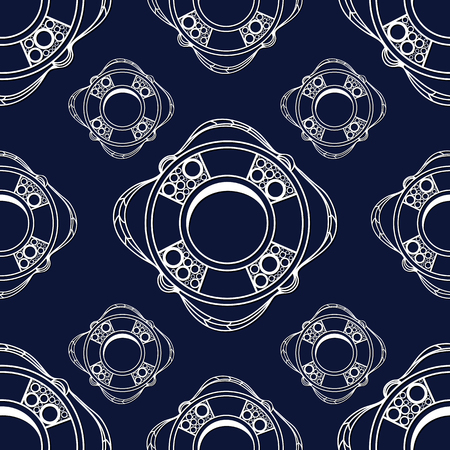 lifeline: Seamless pattern (texture) with lifeline. Sailor infinite background. Suitable for design: cloth, web, wallpaper, wrapping. Vector illustration. Illustration