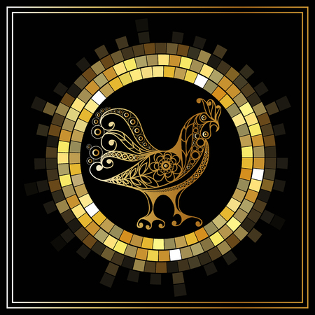 Graphic illustration of fire cock, symbol of 2017. Suitable for invitation, flyer, sticker, poster, banner, card, label, cover, web. Vector element for New Years design. 일러스트