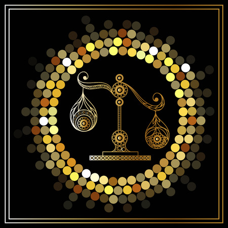Decorative zodiac sign Libra. Horoscope and astrology (astronomy)-symbol. Vector illustration. Illustration