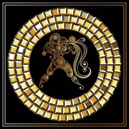 zodiaco decorativo acuario de la muestra. Horóscopo y astrología -Símbolo (astronomía). Ilustración del vector. Vectores