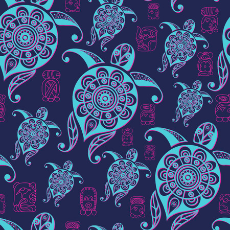 Seamless Maya art boho pattern with turtle (tortoise, terrapin). Ethnic print. Aztec background texture. Fabric, cloth design, wallpaper, wrapping, packaging. Vector illustration. Ilustração