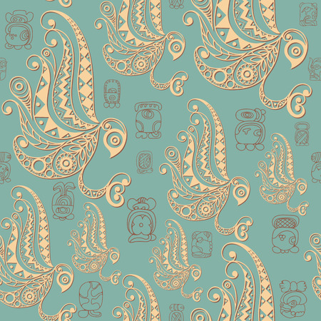 Seamless Maya art boho pattern with owl. Ethnic print. Aztec background texture. Fabric, cloth design, wallpaper, wrapping, packaging. Vector illustration.
