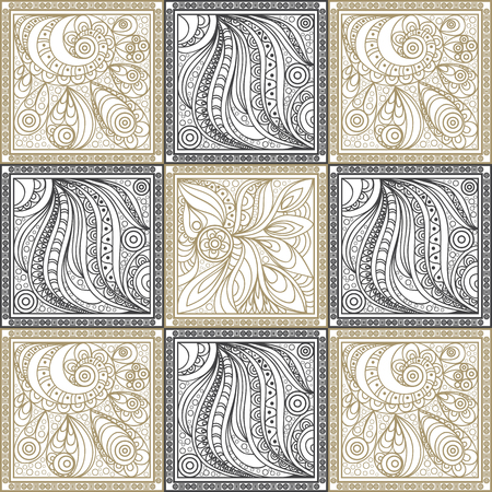 gobelin: Vector abstract doodle pattern (texture, background). Black and gold beige hand drawn geometrical ornaments, wavy stripes and fantasy leaves with flower.Textile patchwork vintage print.