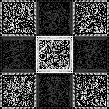 gobelin tapestry: Vector abstract doodle pattern (texture, background). Black, grey and white hand drawn geometrical ornaments, wavy stripes and fantasy leaves with flower.Textile patchwork vintage print.