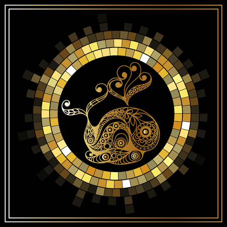 Decorative zodiac sign Cetus (Cet). Horoscope and astrology (astronomy)-symbol. Vector illustration. Illustration