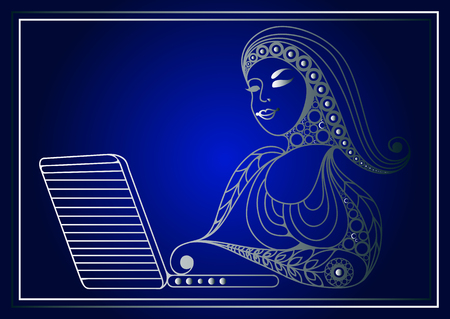 oncept: Woman with laptop. Business woman. Beautiful woman at work. Modern lifestyle. Office life. Suitable for invitation, flyer, sticker, poster, banner, card,label, cover, web. Vector illustration.