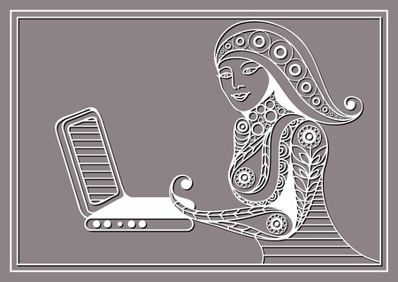 modern lifestyle: Woman with laptop. Business woman. Beautiful woman at work. Modern lifestyle. Office life. Suitable for invitation, flyer, sticker, poster, banner, card,label, cover, web. Vector illustration.