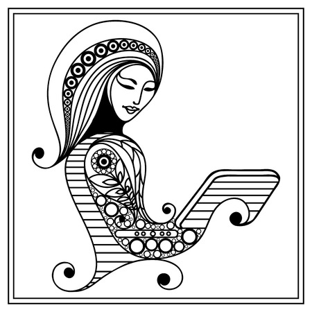 oncept: Woman with laptop. Business woman. Coloring book page. Modern lifestyle. Office life. Suitable for invitation, flyer, sticker, poster, banner, card,label, cover, web. Vector illustration.