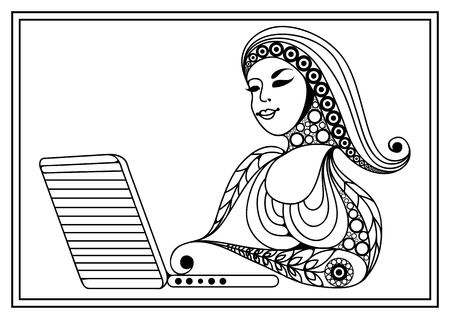 modern lifestyle: Woman with laptop. Business woman. Coloring book page. Modern lifestyle. Office life. Suitable for invitation, flyer, sticker, poster, banner, card,label, cover, web. Vector illustration.
