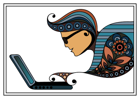 oncept: Man with laptop. Suitable for invitation, flyer, sticker, poster, banner, card,label, cover, web. Vector illustration.