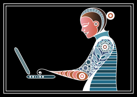 oncept: Woman with laptop. Suitable for invitation, flyer, sticker, poster, banner, card,label, cover, web. Vector illustration.
