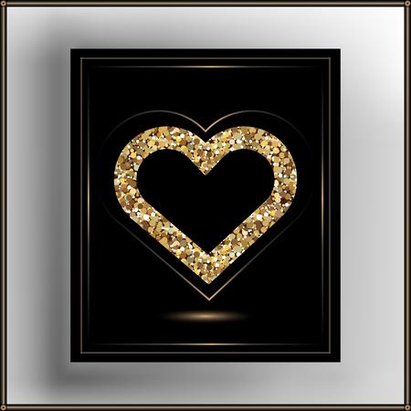 glitzy: Valentine heart in frame. Suitable for invitation, flyer, sticker, poster, banner, card,label, cover, web. Vector illustration.