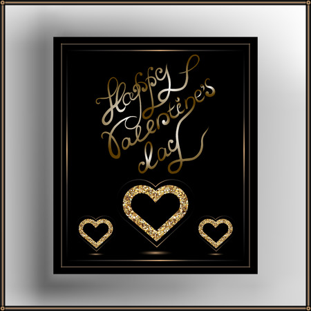 glitzy: Valentine hearts in frame. Suitable for invitation, flyer, sticker, poster, banner, card,label, cover, web. Vector illustration.